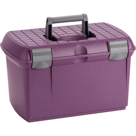 500 Horse Riding Grooming Box - Plum/Grey