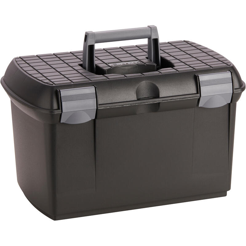 500 Horse Riding Grooming Box - Black/Grey