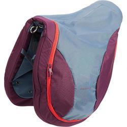 Bolsa para silla equitación ciruela, gris y rosa