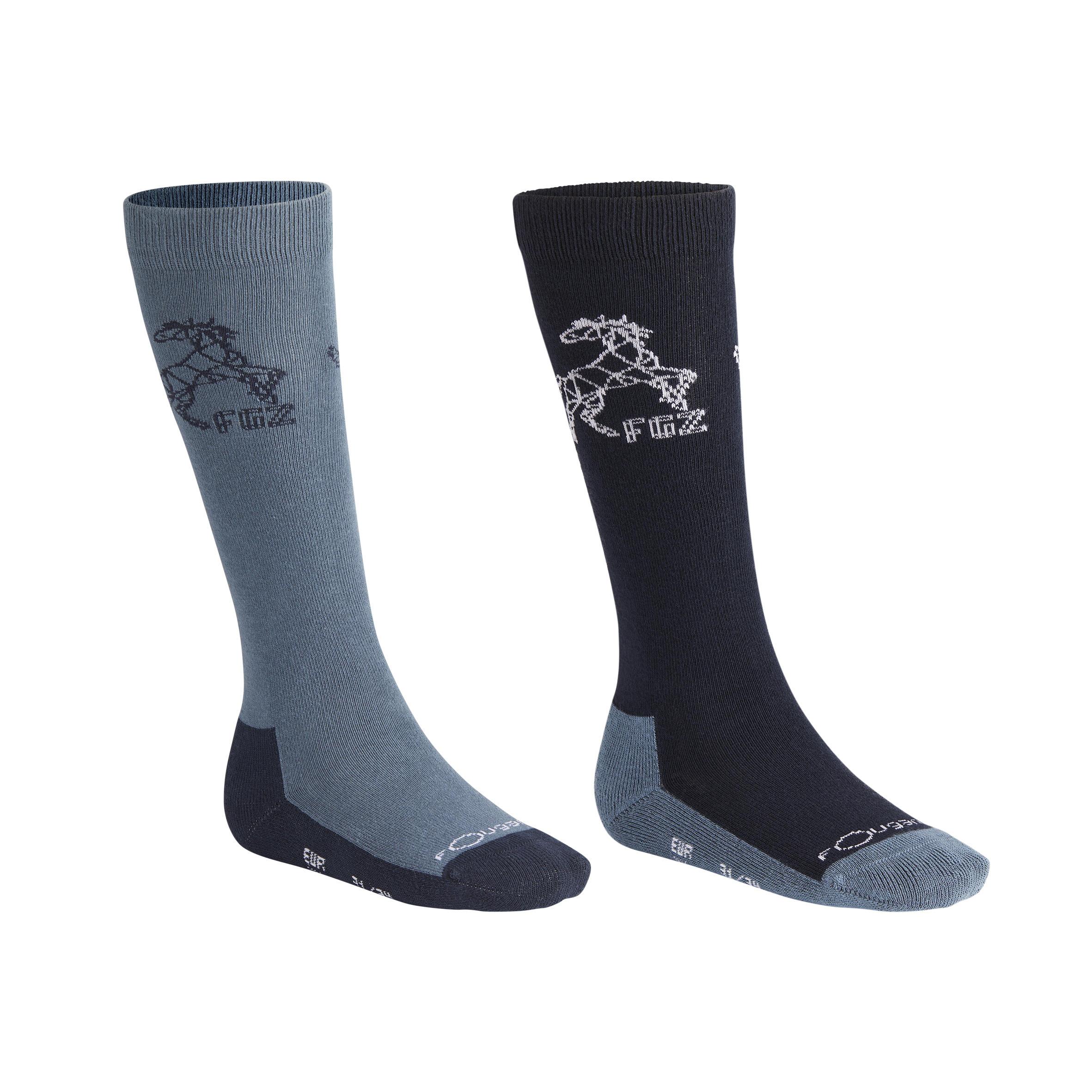 500 Boy Children's Horse Riding Socks 2-Pair - Navy/Grey