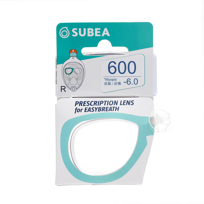 Right corrective lens for the short-sighted on the Easybreath mask
