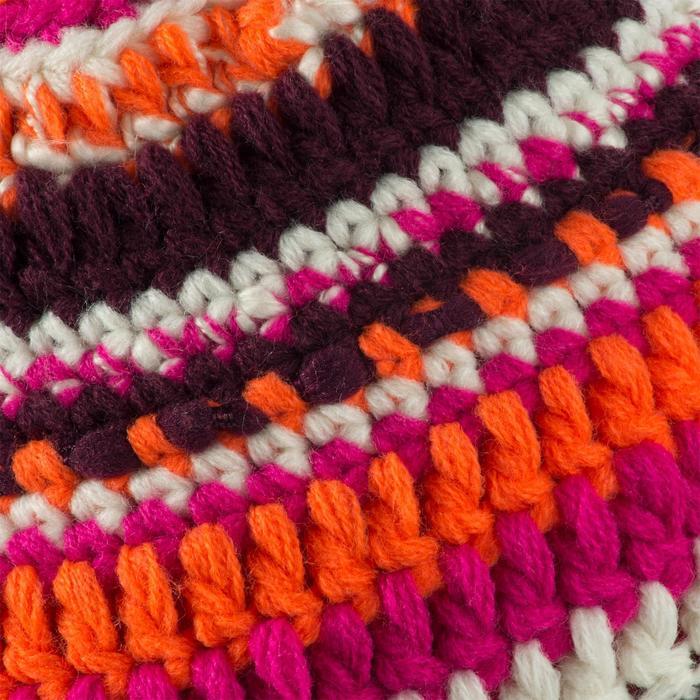 Kinder skimuts in gemengd garen roze/oranje