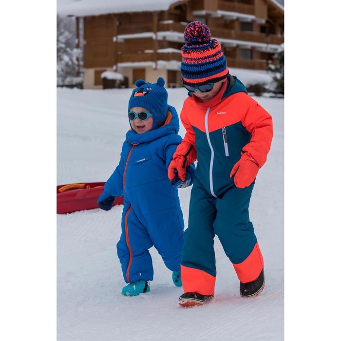 Skimuts kinderen Mixyarn marineblauw/oranje