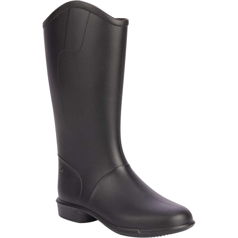 KID RIDING BOOTS/HC/LONGBOOTS Horse Riding - 100 Children's Boots - Black FOUGANZA - Horse Riding
