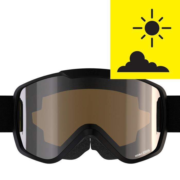 Ski / Snowboardbrille G 500 S3 Erwachsene/Kinder Schönwetter schwarz