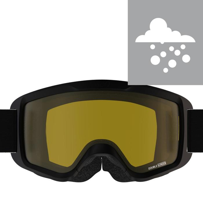 Skibrille Snowboardbrille G 100 S1 Schlechtwetter Erwachsene/Kinder schwarz
