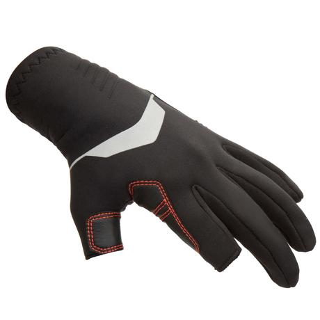 900 Adult Sailing Gloves With Two Fingers Cut Black Tribordvoile