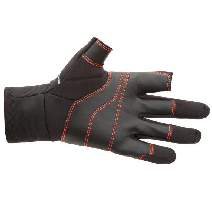 Gants néoprène 1mm voile adulte sailing 900 noir avec 2 doigts coupés noir