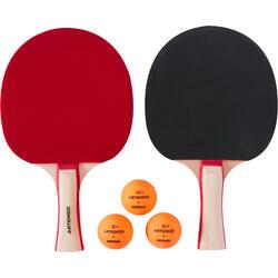 ENSEMBLE TENNIS DE TABLE LIBRE : 2 RAQUETTES FR 130 / PPR 130 SALLE + 3 BALLES