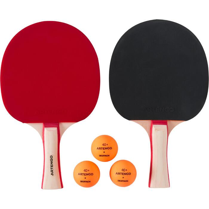 Tafeltennisset van 2 batjes PPR130 en 3 ballen 1*