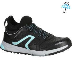 Damessneakers Nordic Walking NW 580 Waterproef zwart/blauw