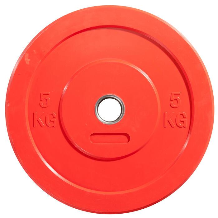 Hantelscheibe Bumper Plate scheibe O'Fitness 5 kg rot