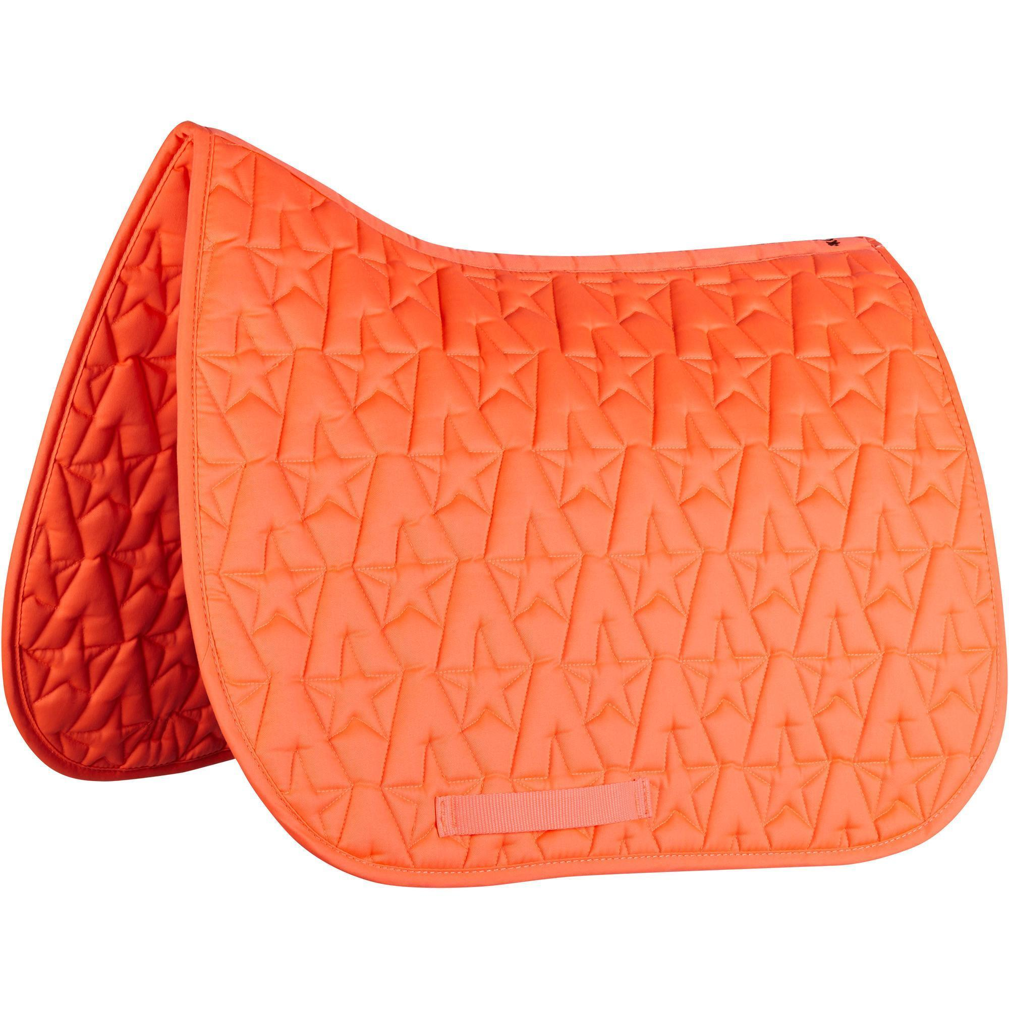 Tapis de selle quitation poney et cheval 100 star orange fluo fouganza Tapis cheval decathlon