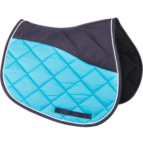 Tapis de selle quitation cheval 540 turquoise fouganza - Tapis decathlon equitation ...