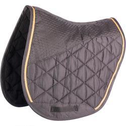 580 Horse Riding Saddle Cloth for Horse and Pony - Anthracite Grey/Camel Trim