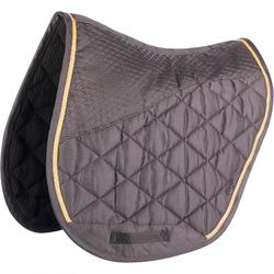580 Horse Riding Saddle Cloth for Horse and Pony - Anthracite Grey/Camel Trim