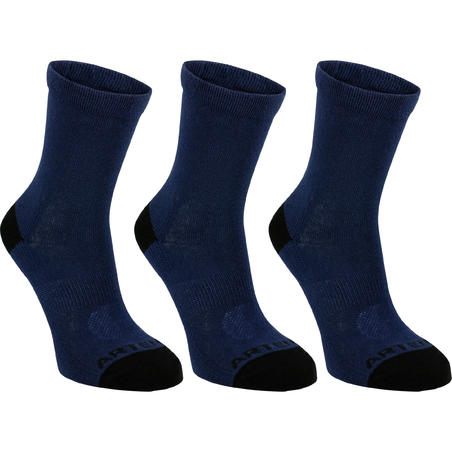 Kids' High Tennis Socks Tri-Pack RS 160 - Navy