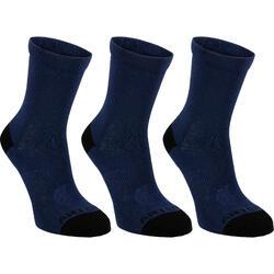 Hoge sportsokken kinderen Artengo RS160 marineblauw 3 paar