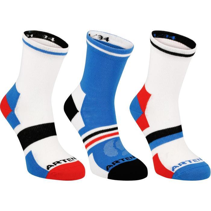 Halfhoge sportsokken voor kinderen Artengo RS 160 wit/blauw 3 paar - 1247513