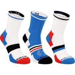 Halfhoge sportsokken voor kinderen Artengo RS 160 wit/blauw 3 paar