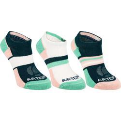 Tennissocken RS160 Sportsocken low 3er Pack Kinder rosa/grün