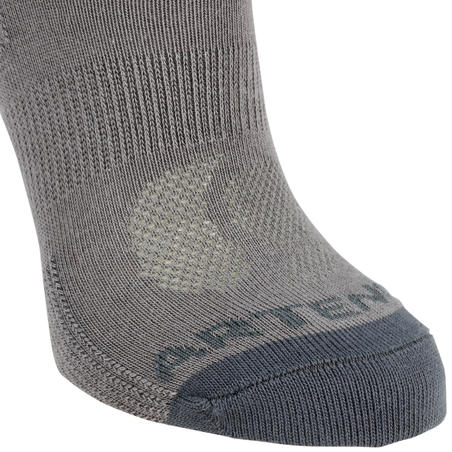 Kids' Mid Tennis Socks RS 160 Tri-Pack - Grey