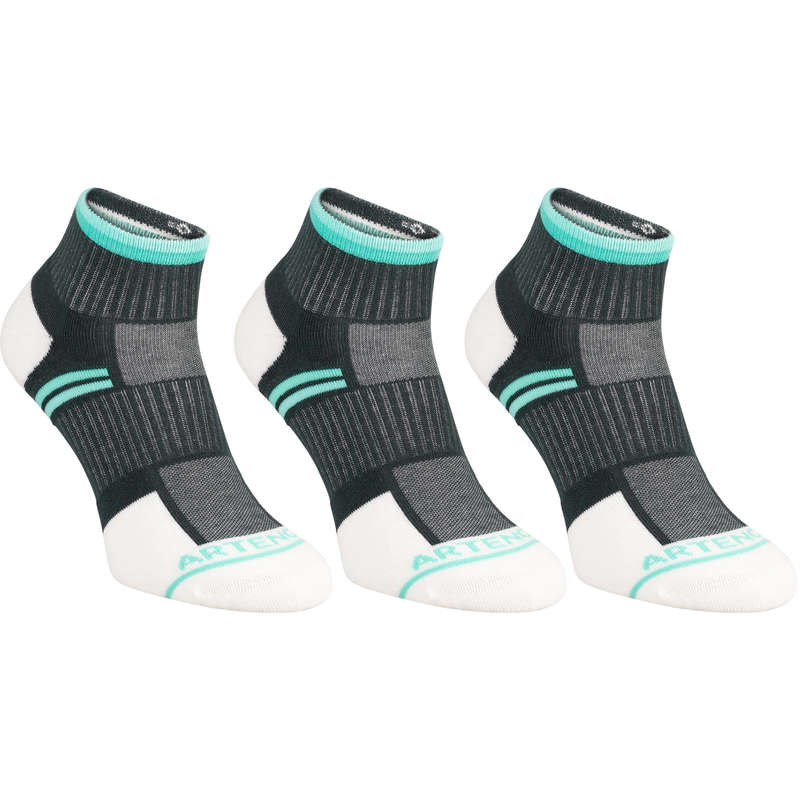 ADULT SOCKS Tennis - RS 500 Mid 3-Pack Grey/Green ARTENGO - Tennis