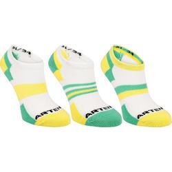 Lage sportsokken voor kinderen Artengo RS 160 geel en groen set van 3 paar