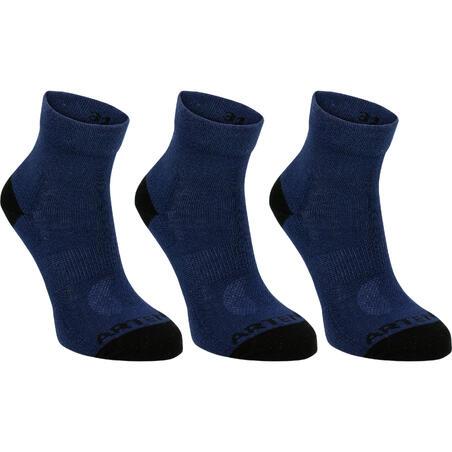 Kids' Tennis Socks RS 160 Mid Tri-Pack - Navy