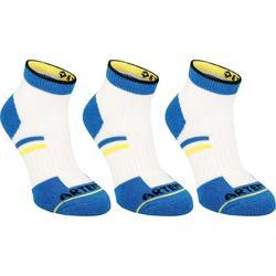 Halfhoge sportsokken voor kinderen Artengo RS 500 wit en blauw 3 paar