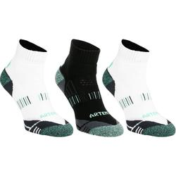 Halfhoge sportsokken volwassenen Artengo RS900 wit groen 3 paar