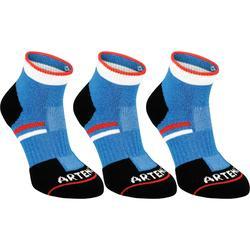Halfhoge sportsokken voor kinderen Artengo RS 500 blauw en zwart 3 paar