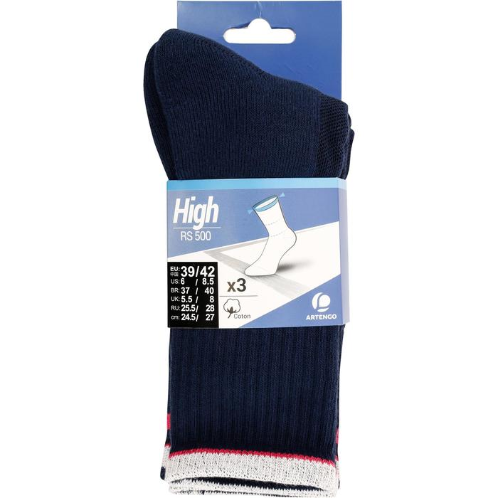 Tennissocken RS 500 High 3er Pack Erwachsene blau/rot