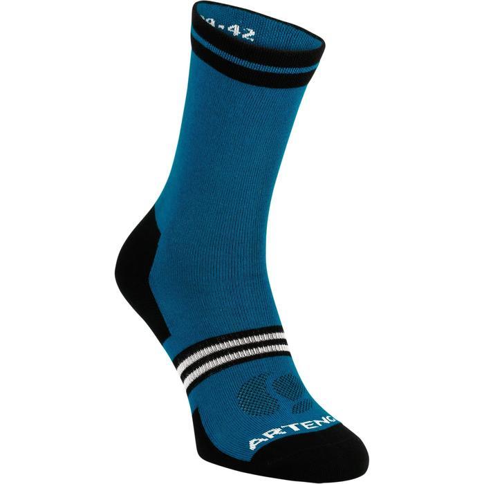 Hoge sportsokken volwassenen Artengo RS 160 blauw zwart set van 3 paar