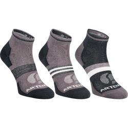 RS 160 成人中筒運動襪三雙組 - 灰色