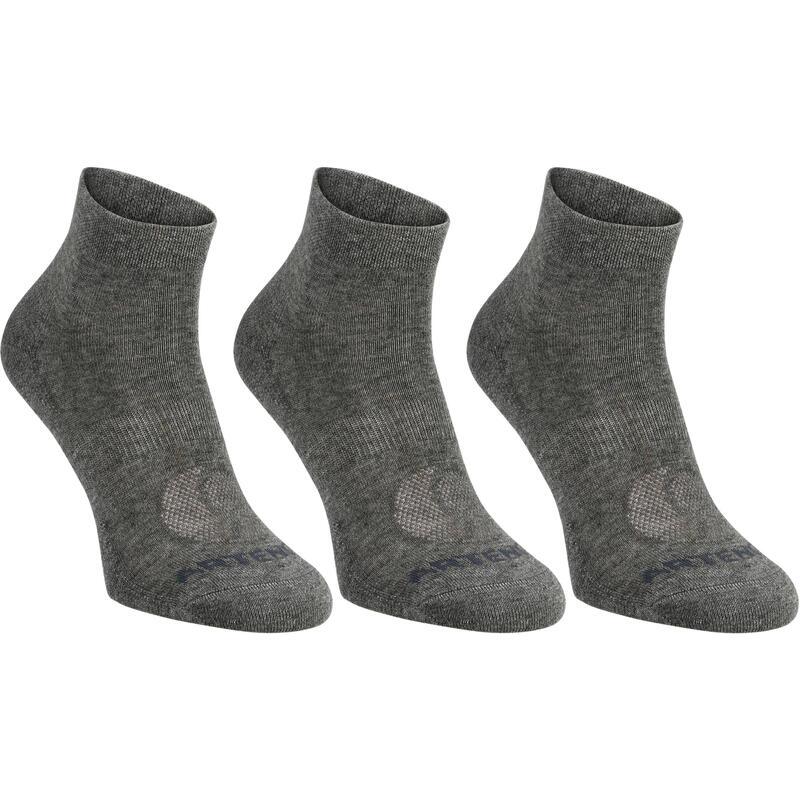 Polovysoké tenisové ponožky RS160 šedé 3 páry