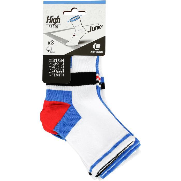 Halfhoge sportsokken voor kinderen Artengo RS 160 wit/blauw 3 paar - 1247824