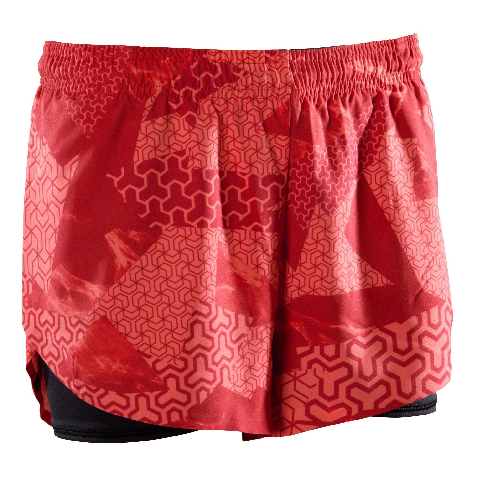 Domyos Sportbroekje crosstraining 500 voor dames, rood kopen? Leest dit eerst: Fitness kleding Fitness short met korting