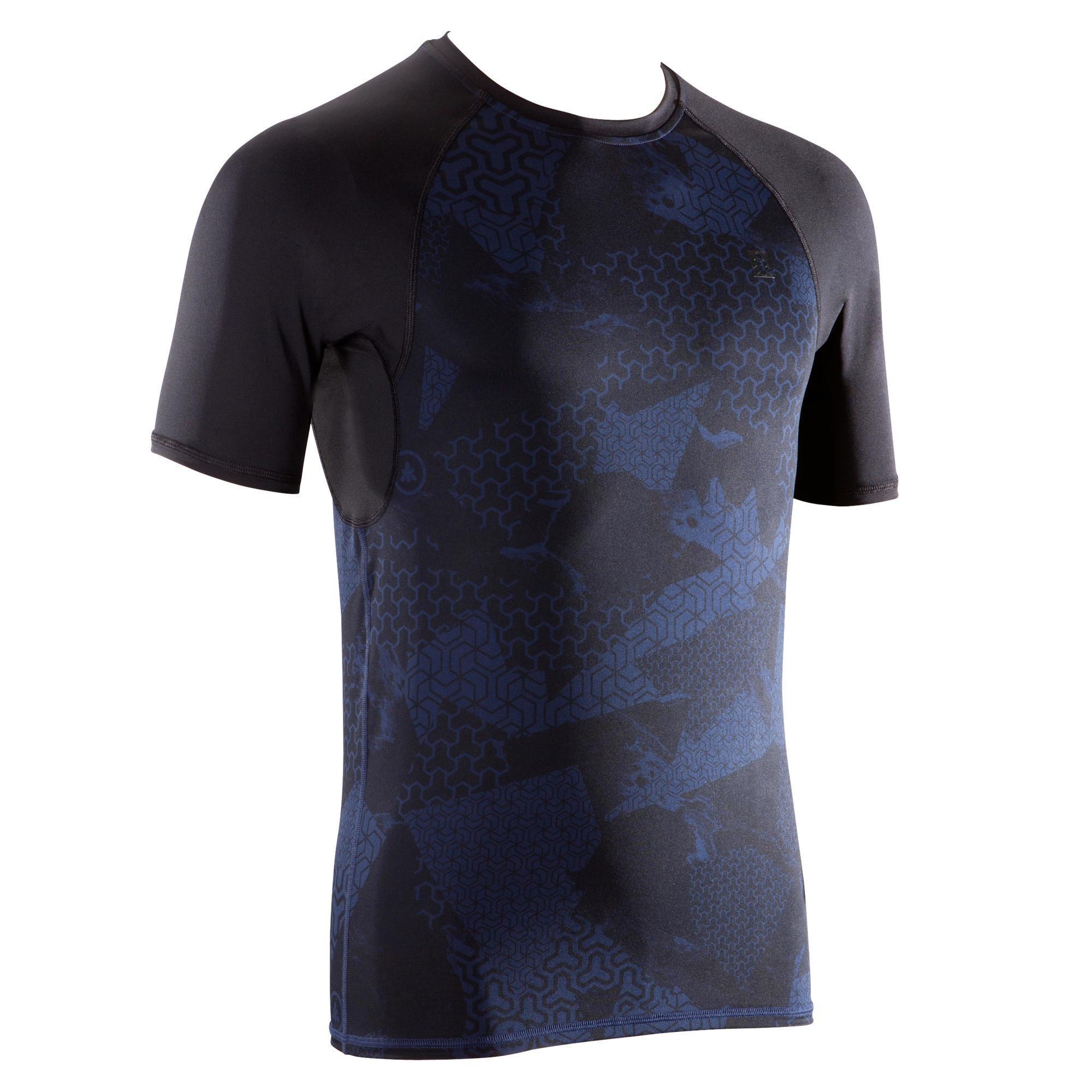 T-Shirt 500 Kompression Crosstraining Herren schwarz/blau | Sportbekleidung > Sportshirts > Poloshirts | Domyos