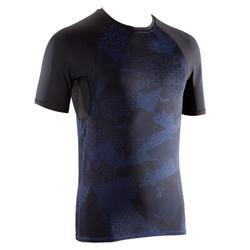 Compressie-T-shirt heren krachttraining heren zwart/blauw