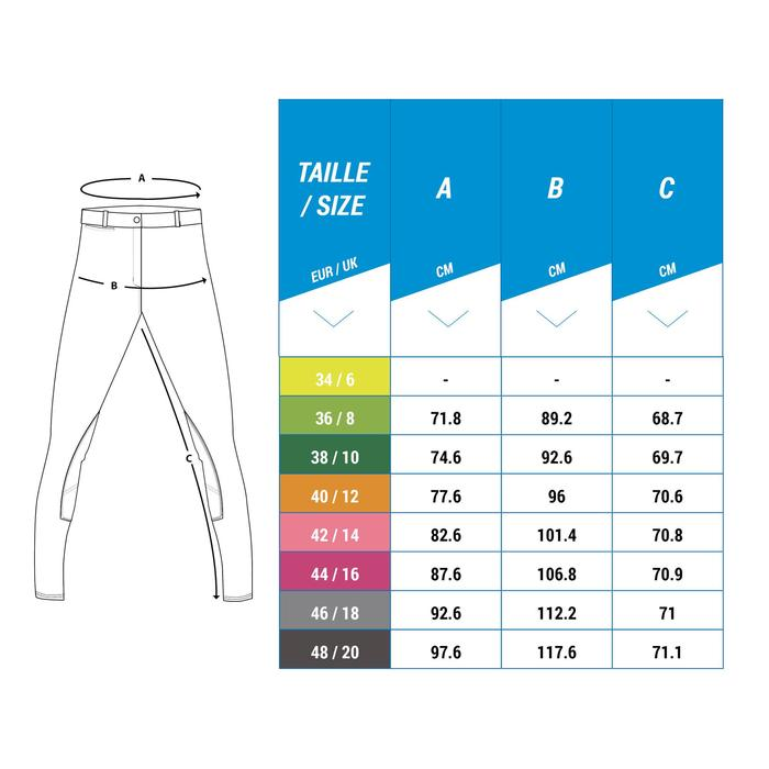 Pantalon équitation femme BR500 basanes marine - 1248600