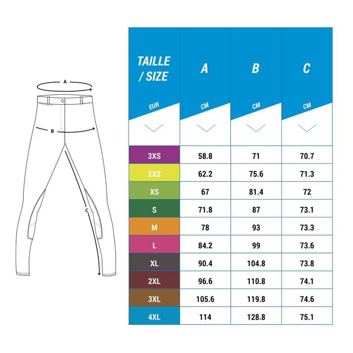 Pantalón equitación mujer BR340 Stripe badanas adherentes gris azulado