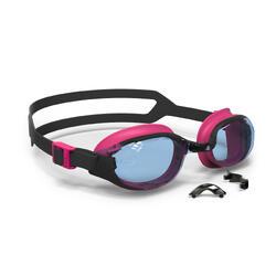泳鏡500 B-FIT - 黑色/粉紅色,透明鏡片