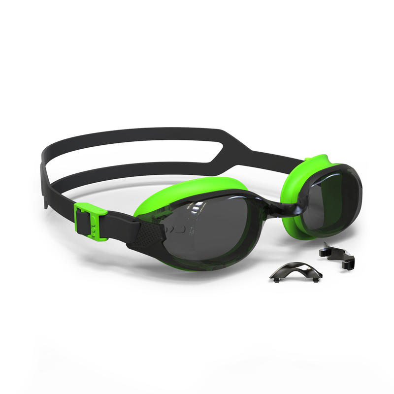500 B-FIT Swimming Goggles, Black Green, Smoke Lenses