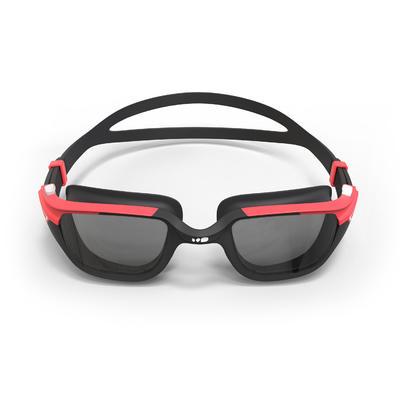 500 SPIRIT Swimming Goggles, Size L - Black Red, Smoke Lenses