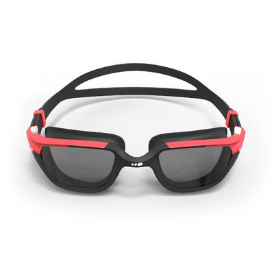 500 SPIRIT Swimming Goggles, Size L - Black Red, Smoke Lenses