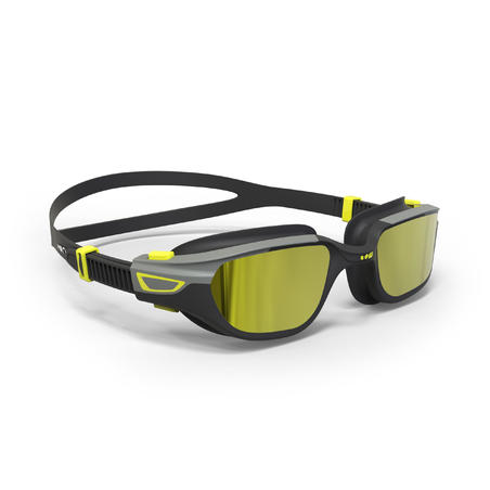 500 SPIRIT Swimming Goggles, Size L - Black, Grey, Mirror Lenses