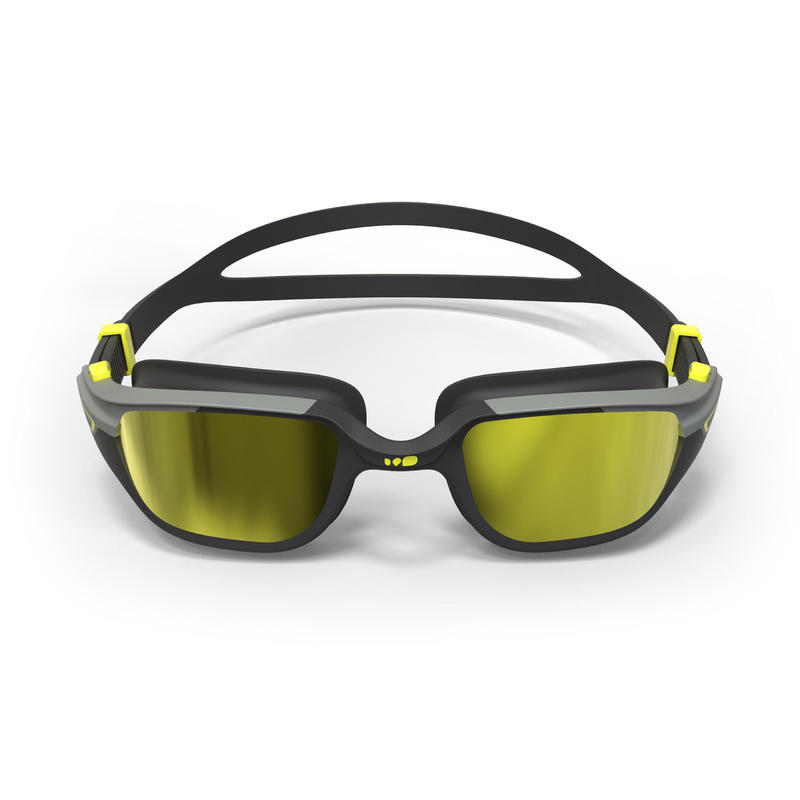 500 SPIRIT Swimming Goggles, Size L - Black, Grey, Mirror Lenses