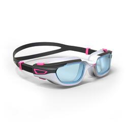 泳鏡500 SPIRIT,S號 - 白色粉紅色,透明鏡片