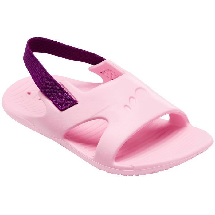 Chanclas natación bebé rosa elástico violeta